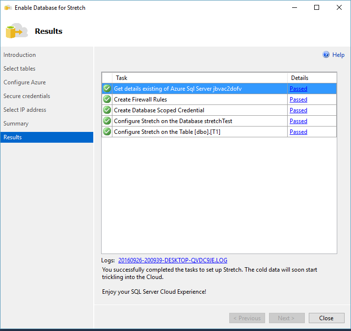SQL SERVER 2016 - How to Use SQL Server 2016 – Stretch Database - Notes from the Field #127 127-12