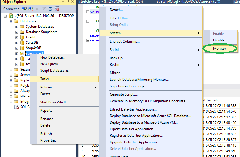 SQL SERVER 2016 - How to Use SQL Server 2016 – Stretch Database - Notes from the Field #127 127-13