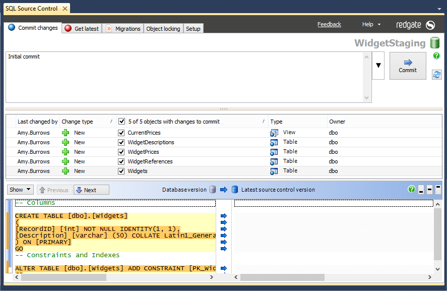 Team Database Development and Version Control with SQL Source Control 4-Initial