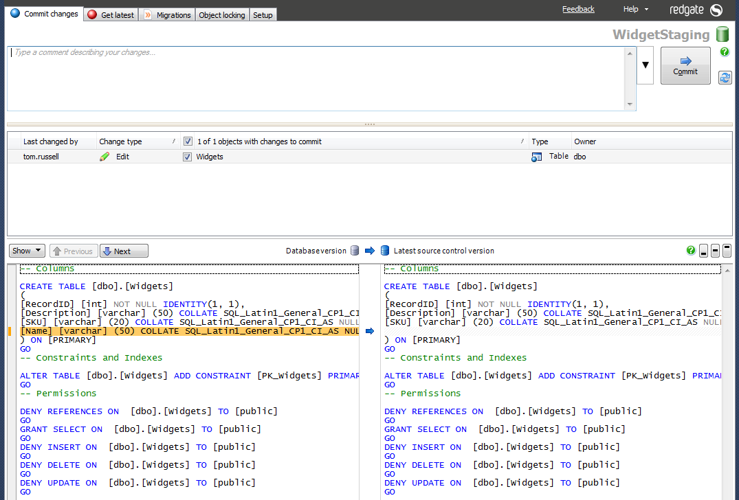 Team Database Development and Version Control with SQL Source Control 7-commit-change