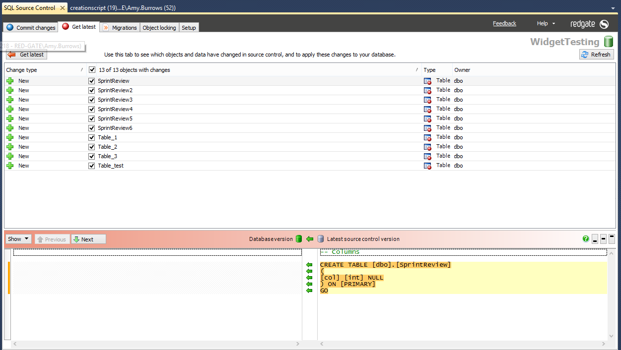 Team Database Development and Version Control with SQL Source Control 8-getting-a-change
