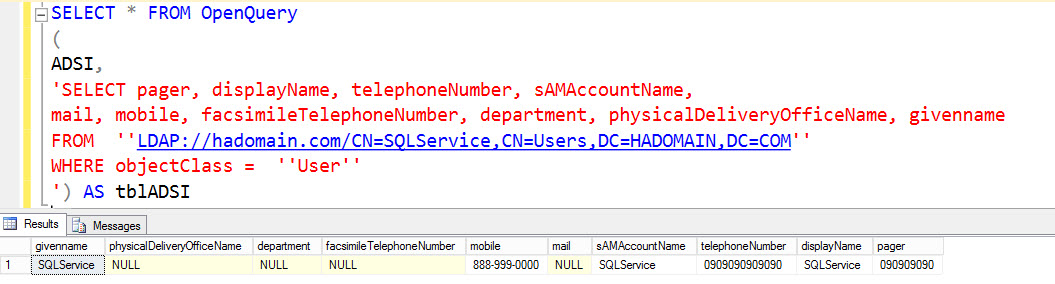 SQL SERVER - How to Query Active Directory Data Using ADSI / LDAP Linked Server ADSI-02