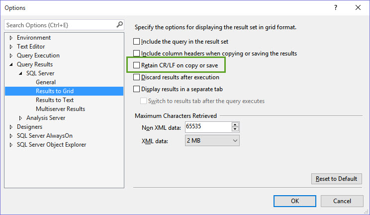SQL SERVER - Maintain Carriage Return (Enter Key) in SQL Server 2016 Management Studio While Copy and Paste CRLF-04