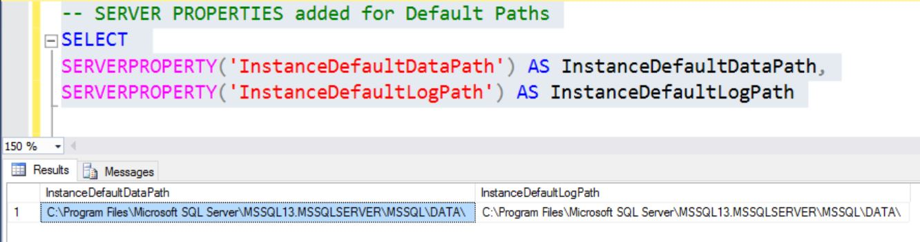 SQL SERVER - Identifying Database Default Locations for Data and Logs Database-default-locations-02