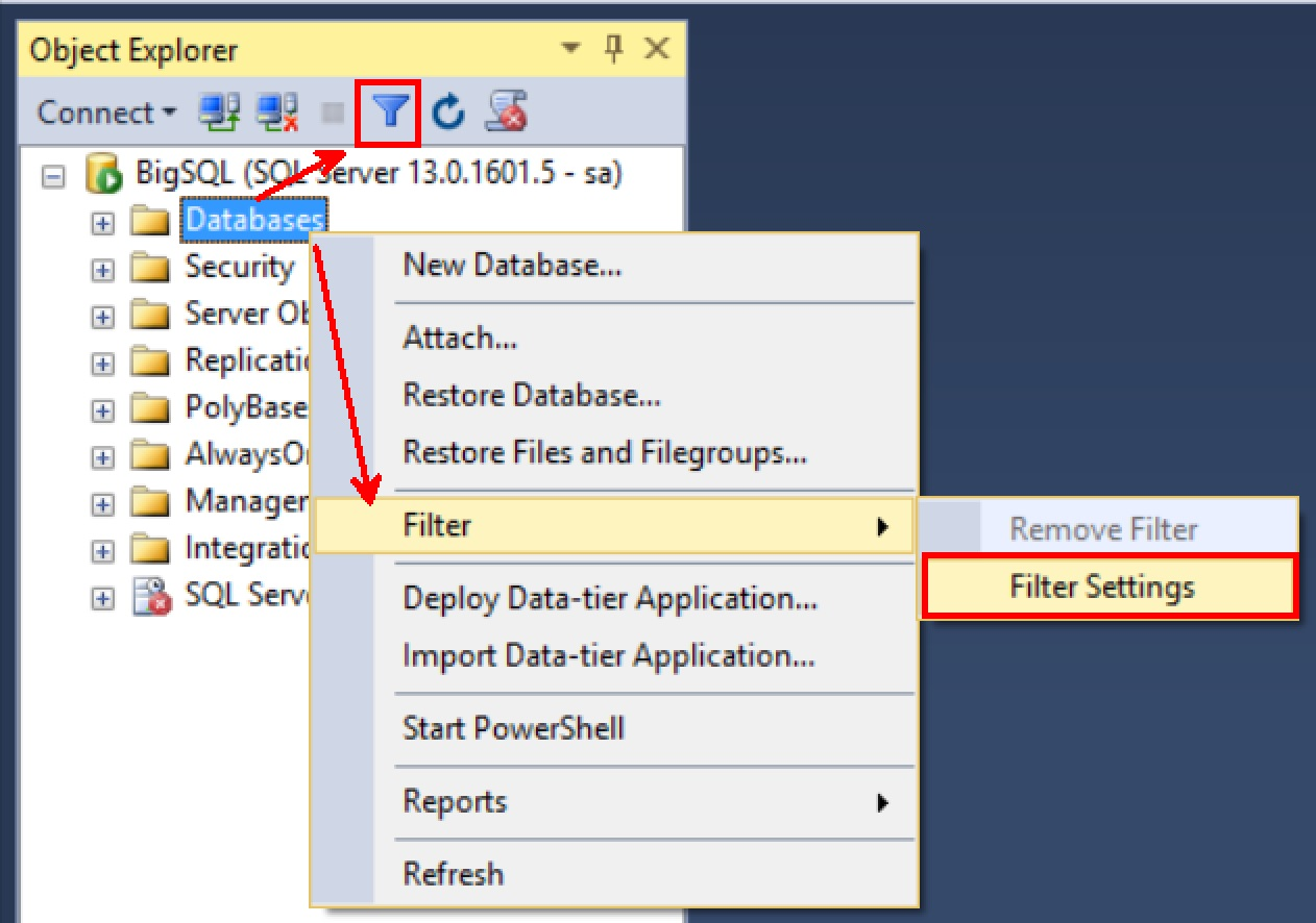 SQL SERVER - SSMS Enhancement - Databases Node Filter Capability Filter-databases-SSMS-01
