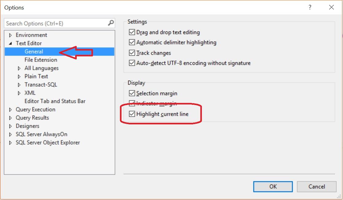 SQL SERVER 2016 - Management Studio Highlighting Current Line Option Line-highligted-02