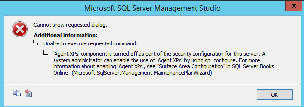 SQL SERVER - FIX - Agent XPs Component is Turned Off as Part of the Security Configuration for this Server MP-Error-02