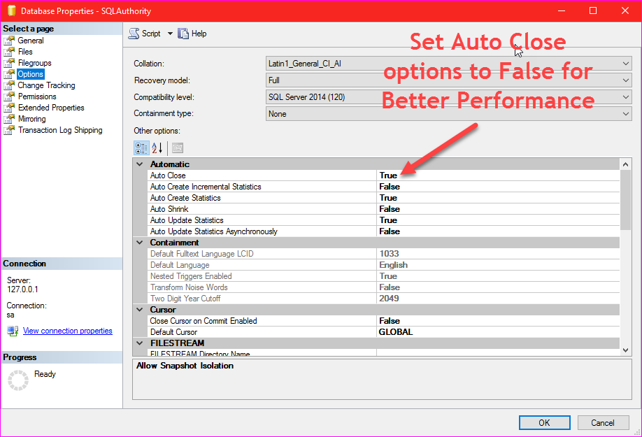 SQL SERVER - Set AUTO_CLOSE Database Option to OFF for Better Performance auto_close