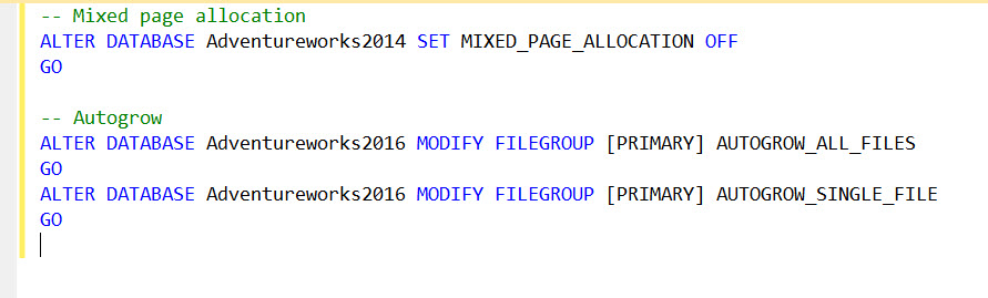 SQL Server 2016 - Introducing AutoGrow and Mixed_Page_Allocations Options - TraceFlags autogrow-mixedpage
