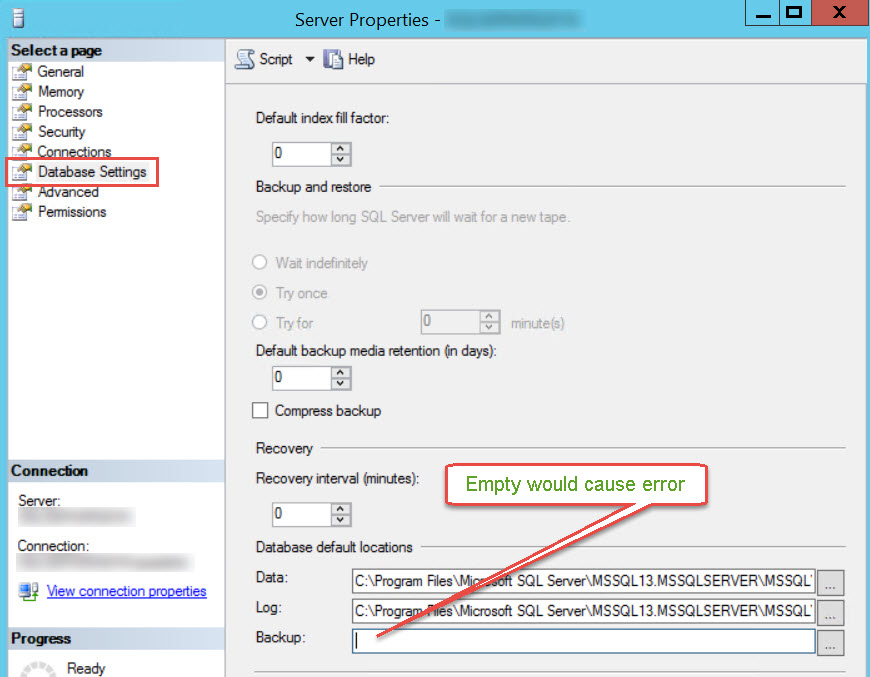 SQL SERVER - Msg 3047, Level 16, State 1: The BackupDirectory Registry Key is Not Configured Correctly backup-directory-02