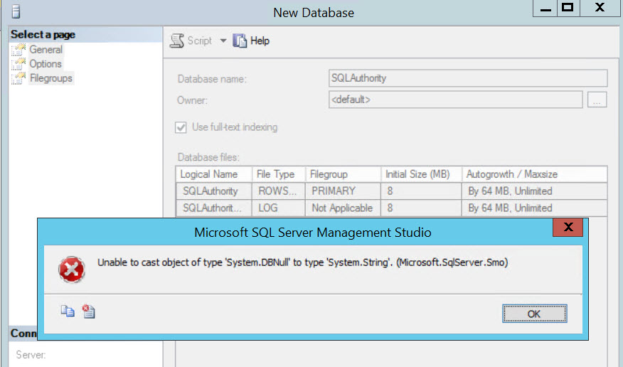 SQL SERVER - Unable to cast object of type 'System.DBNull' to type 'System.String'. (Microsoft.SqlServer.Smo) cast-error-01
