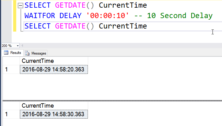 How to Introduce Time Delay Between Two T-SQL Commands? - Interview Question of the Week #091 delayintime