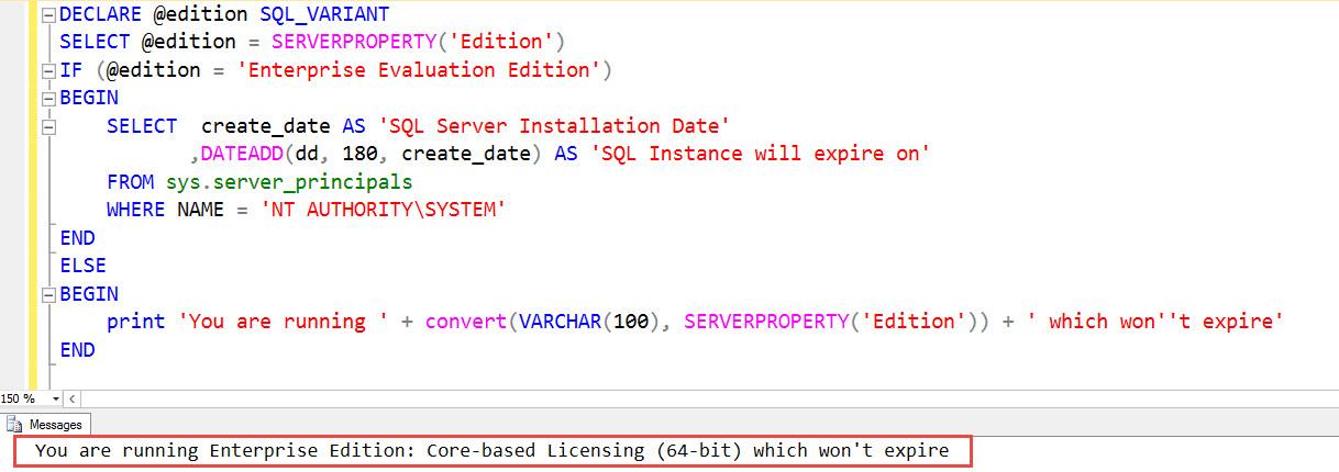 SQL SERVER 2016 - Find Expiry Date of Developer Edition - SQL
