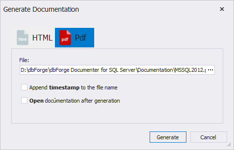 SQL SERVER - How to Automatically Generate SQL Server Documentation ? generate10