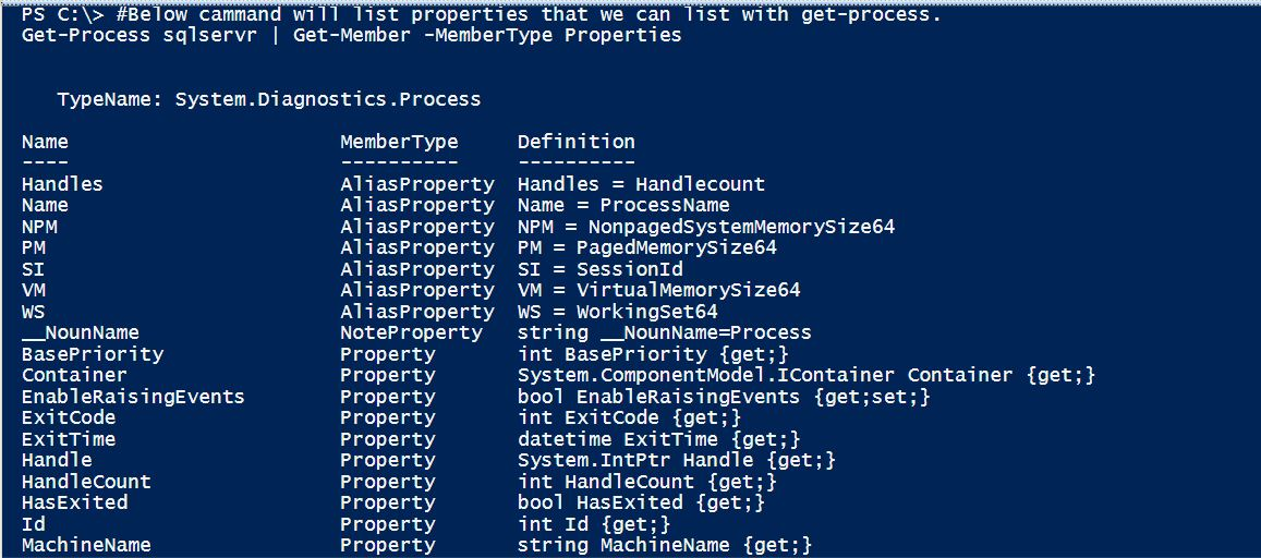 PowerShell Scripts - get-process with SQL Server process get-process-02
