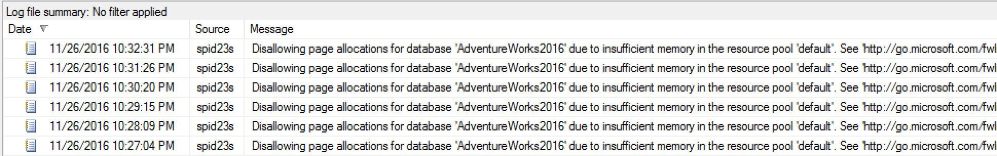 SQL SERVER - Error - Disallowing page allocations for database 'DB' due to insufficient memory in the resource pool insufficent-memory-01