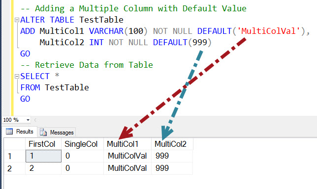 Sql server how to add multiple new columns to table with default values sql authority with - How to add a column in a table ...