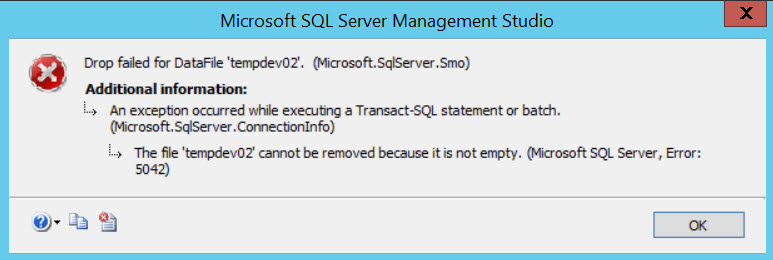 SQL SERVER - Error Msg 5042, Level 16 – The File 'tempdev02' Cannot be Removed Because it is Not Empty remove-fail-01