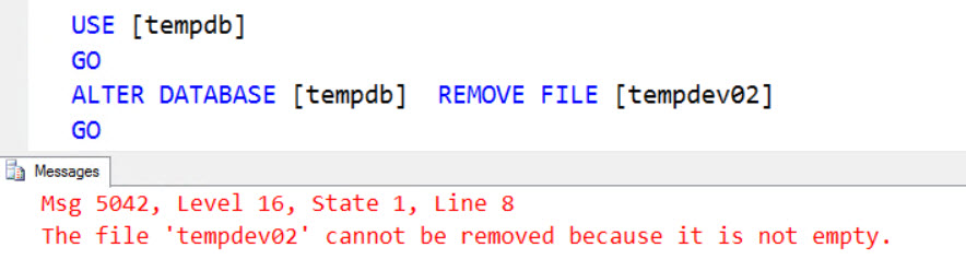 SQL SERVER - Error Msg 5042, Level 16 – The File 'tempdev02' Cannot be Removed Because it is Not Empty remove-fail-02