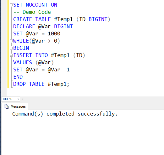 SQL SERVER - How to Hide Number of Rows Affected Message? - SET NOCOUNT setnocount2
