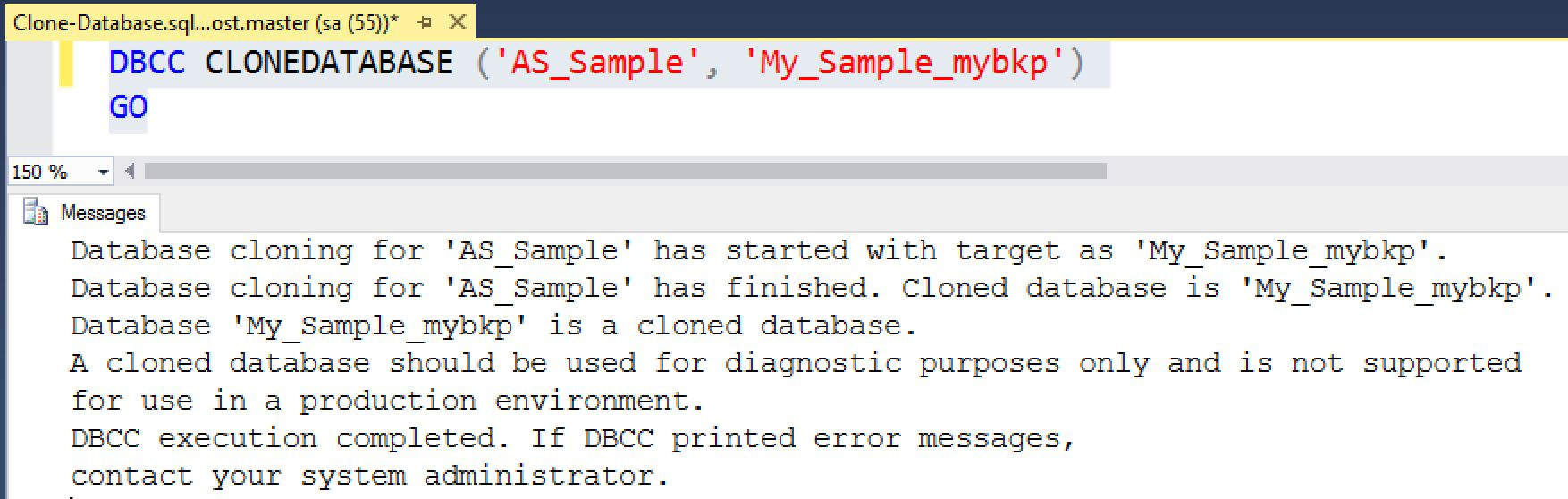 SQL SERVER - CLONEDATABASE: Generate Statistics and Schema Only Copy of the Database sql-db-clone-01