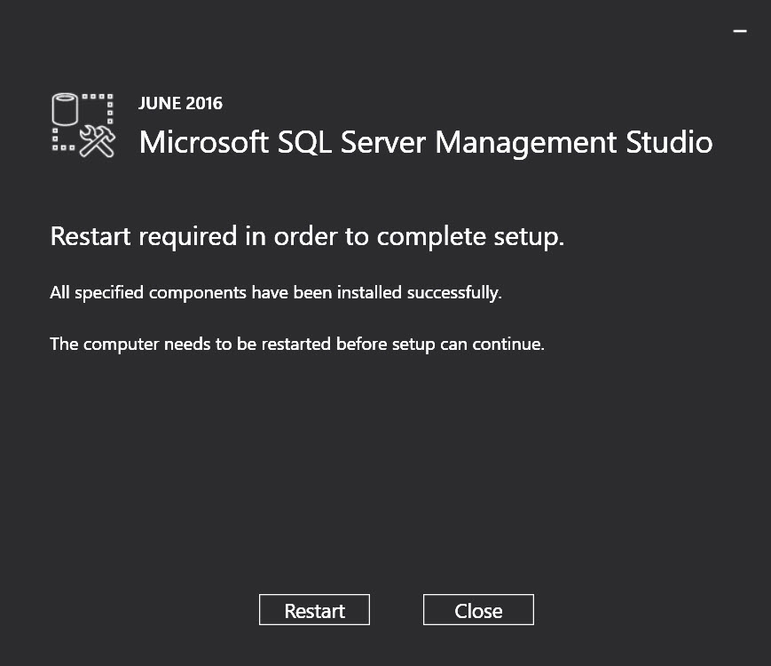 SQL Server 2016 Management Studio - Warning: SSMS install detected shared components on this machine ssms-setup-02
