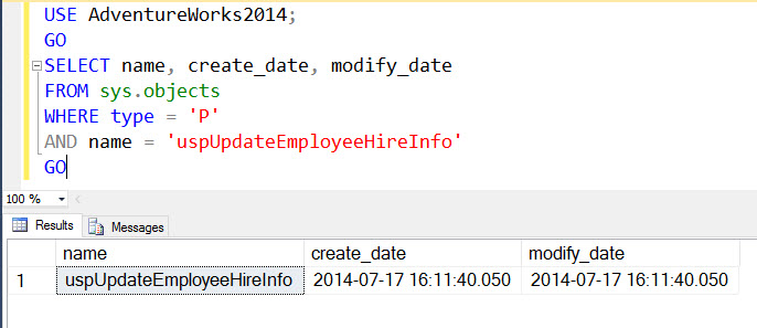SQL SERVER - 2005 - Find Stored Procedure Create Date and Modified Date storedprocedure-listing