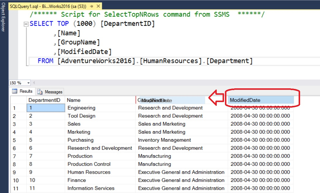 SQL SERVER - SSMS Trick - Switching Columns in Grid Output switch-columns-01