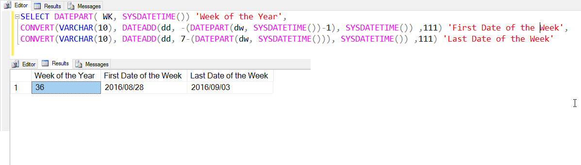 SQL SERVER - Find Week of the Year Using DatePart Function sysdatetime