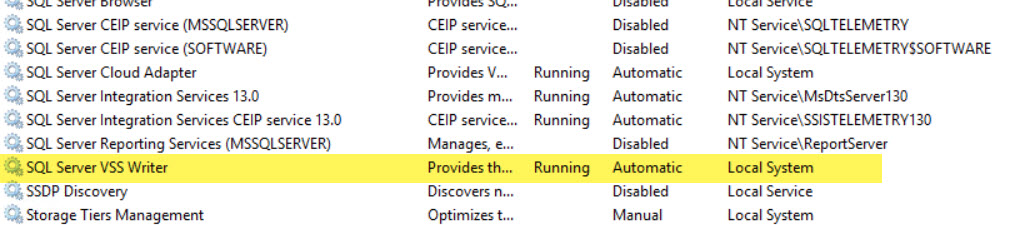 SQL SERVER - SqlServerWriter Missing from an Output of VSSadmin List Writers Command vss-writer-03