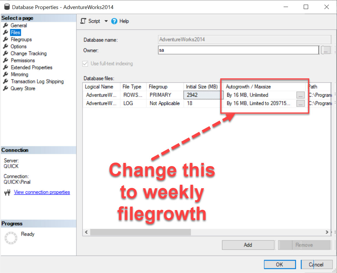 How to Track Autogrowth of Any Database? - Interview Question of the Week #205 autogrowthsettings