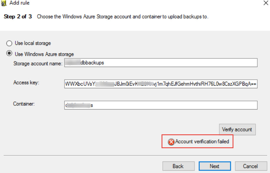 SQL SERVER - Backup to Microsoft Azure Tool - ERROR: Account Verification Failed az-err-03