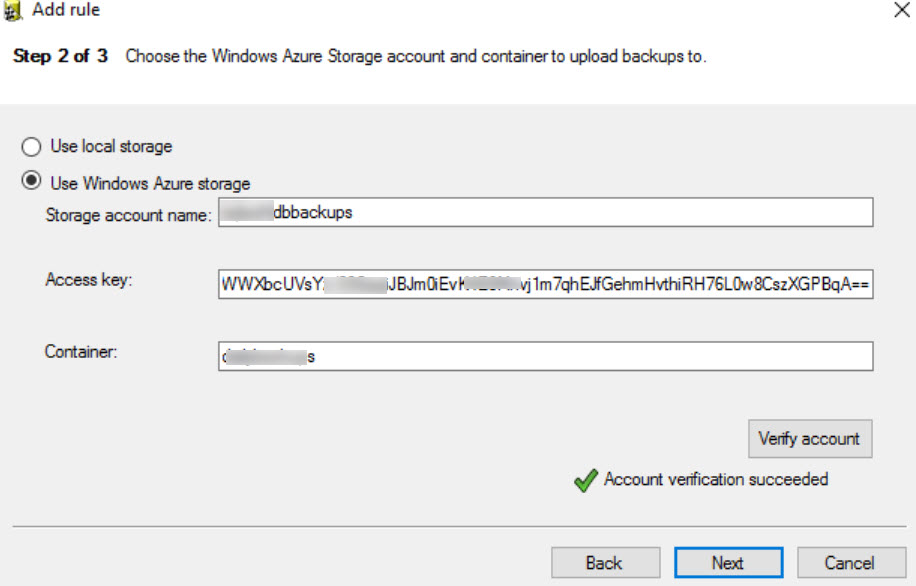 SQL SERVER - Backup to Microsoft Azure Tool - ERROR: Account Verification Failed az-err-05
