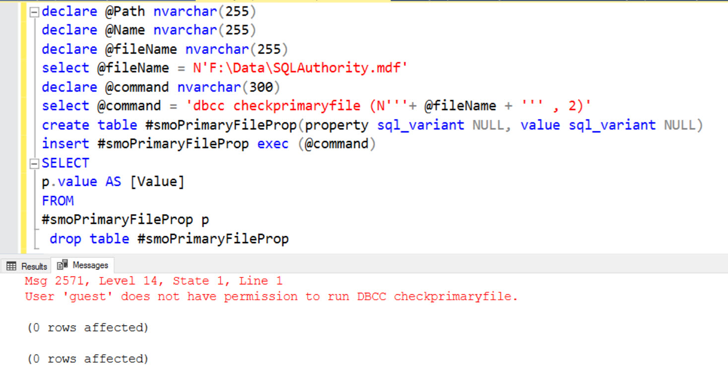 SQL SERVER - Database Attach Failure - Msg 2571 - User 'guest' Does Not Have Permission to Run DBCC Checkprimaryfile. checkprimaryfile-err-02
