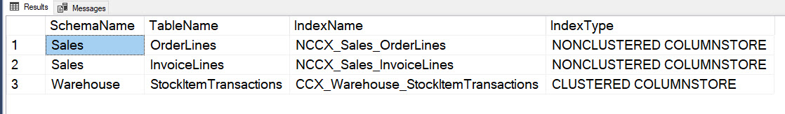 How to List All ColumnStore Indexes with Table Name in SQL Server? - Interview Question of the Week #153 clindexlist1