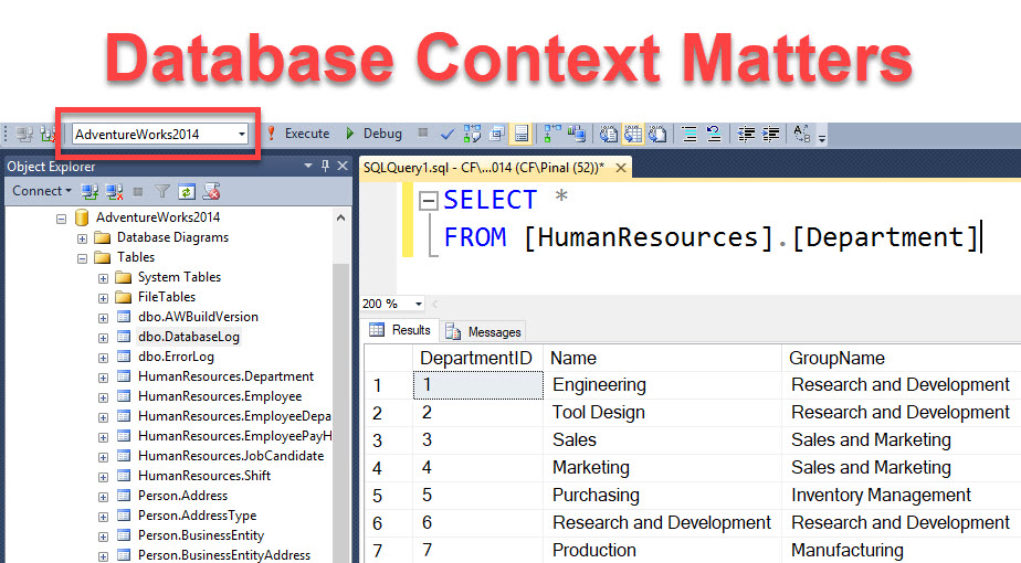 SQL SERVER - Error Due to Database Context - Error 208 - Invalid Object Name dbcontext2