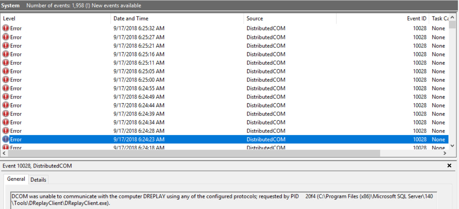 SQL SERVER - Event ID: 10028 - SQL Server Distributed Replay Client – DCOM was Unable to Communicate with the Computer dcom-dreplay-err-01