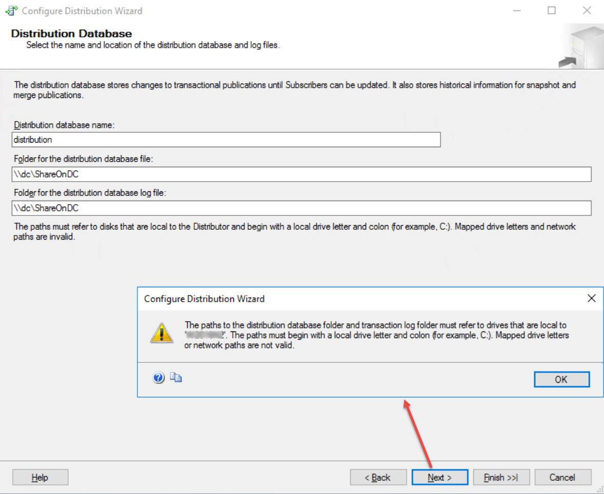 SQL SERVER - FIX: Unable to Create Distribution Database on a UNC Share - Configure Distribution distdb-unc-01