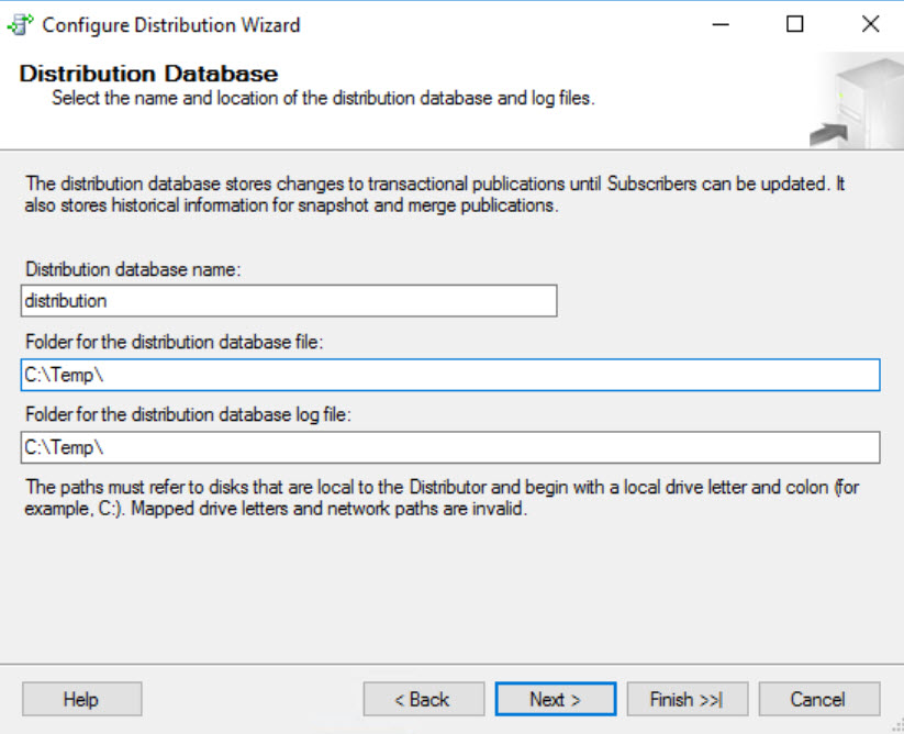 SQL SERVER - FIX: Unable to Create Distribution Database on a UNC Share - Configure Distribution distdb-unc-02