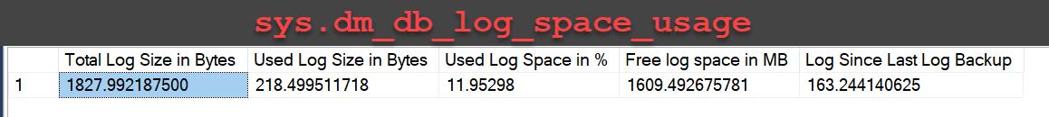SQL SERVER - Introduction to Log Space Usage DMV - sys.dm_db_log_space_usage dm_db_log_space_usage