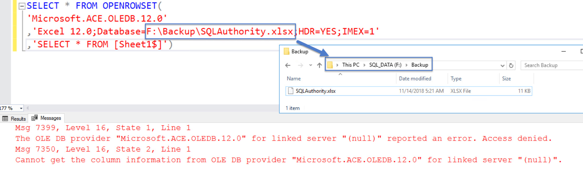 "SQL SERVER - The OLE DB Provider ""Microsoft.ACE.OLEDB.12.0"" for Linked Server ""(null)"" Reported an Error. Access Denied excel-ad-01"