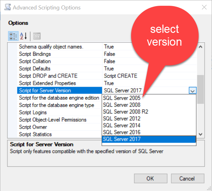 SQL SERVER - Restoring SQL Server 2017 to SQL Server 2005 Using Generate Scripts genscript4