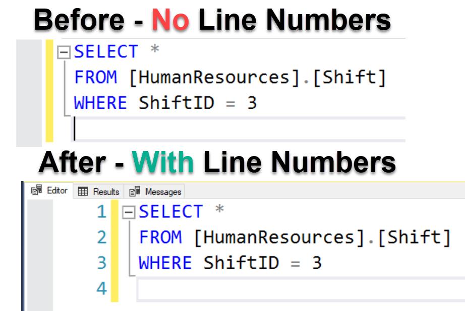 SQL SERVER - SSMS - Enable Line Numbers in SQL Server Management Studio linenumber1