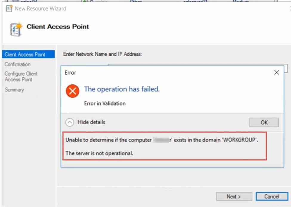 SQL SERVER - Error in Validation: Listener in Workgroup - Unable to determine if the computer exists in the domain 'WORKGROUP' list-wg-err-01