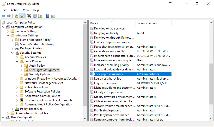 SQL SERVER - How to Enable Lock Pages in Memory? lockpages4