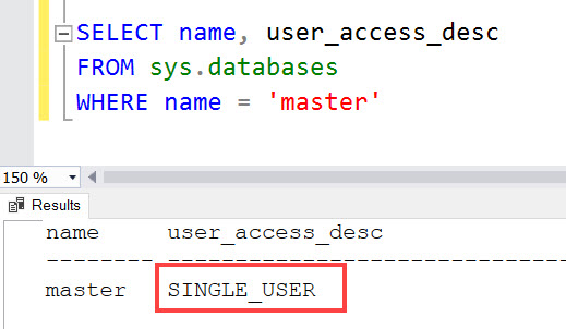 SQL SERVER - Master Database in Single User Mode - A Serious Issue master-single-01