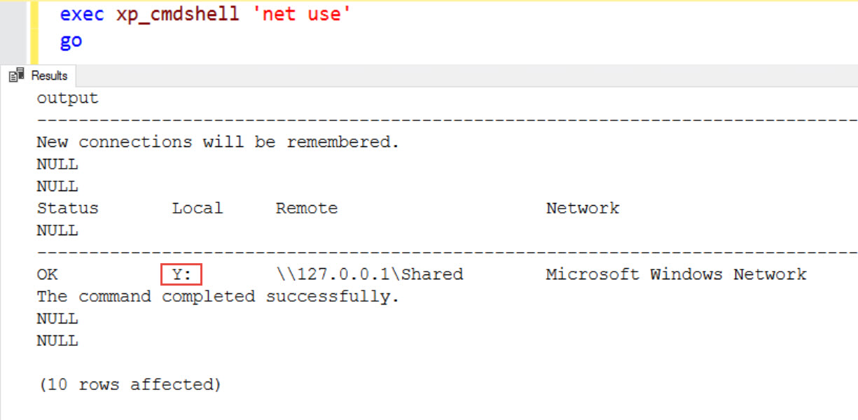 SQL SERVER – xp_cmdshell and Net Use ERROR: The Local Device Name is Already in Use net-use-xp-cmdshell-03