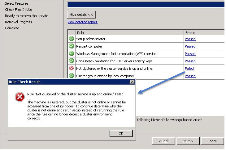 SQL SERVER - Patch Rule Failure:  Not Clustered or the Cluster Service is Up and Online patch-clu-err-01