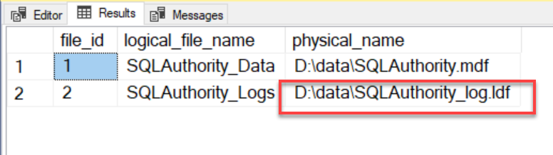 SQL SERVER - Rename Physical Database File Name for Any Database physicalrename1