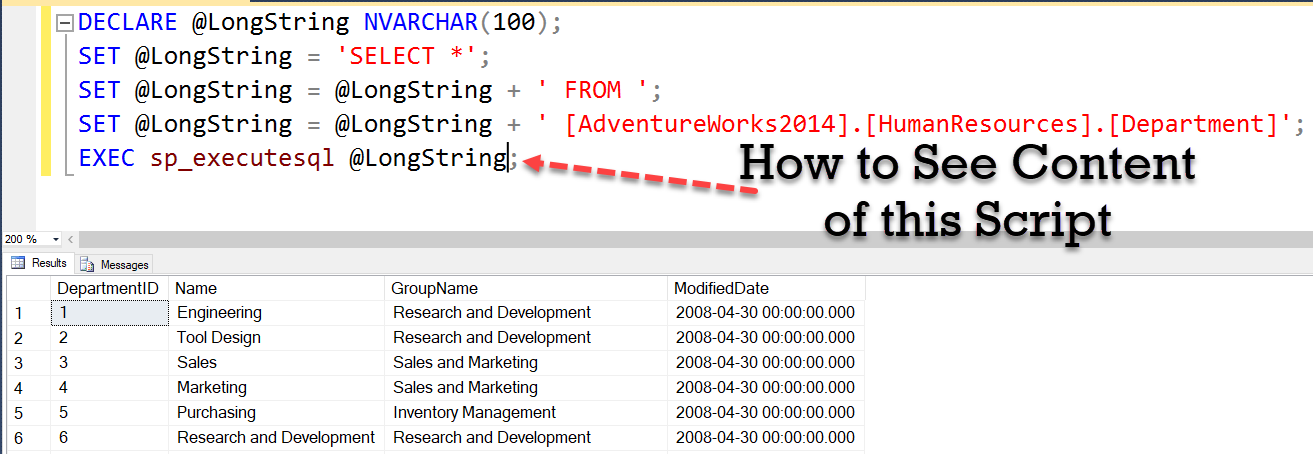 SQL SERVER - How to See Scripts Executing in sp_executesql? printmessage1